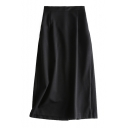 High Waist Plain Split Back Maxi Pencil Skirt