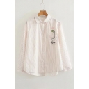 Cute Cat Fish Balloon Embroidered Pocket Striped Lapel Collar Long Sleeve Button Front Shirt