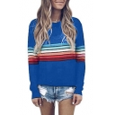 Contrast Rainbow Striped Round Neck Long Sleeve T-Shirt