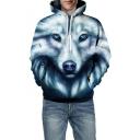 3D Wolf Print Long Sleeve Casual Unisex Hoodie