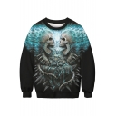 Skull Water Print Round Neck Long Sleeve Sweatshirt