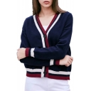 Contrast Striped Trim V Neck Button Placket Long Sleeve Casual Cardigan