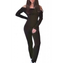 Sexy Plain Off The Shoulder Open Back Long Sleeve Skinny Sports Jumpsuit