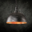 One Bulb Metal Antique Black Pendant Light with Dome Shade for Coffee Bar Indoor