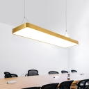 Modern Shop Lighting Polished Brass Rectangular Led Pendant Lighting Gold Acrylic Lampshade 16W-36W, 3200K/4000K/6500K, Led Linear Aluminum Lights for Studyroom Office Meeting Room Workbench