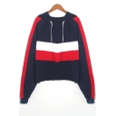 Color Block Long Sleeve Sports Hoodie
