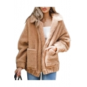Warm Faux Fur Lapel Collar Long Sleeve Zip Closure Plain Jacket