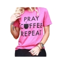 PRAY COFFEE Letter Cup Printed Round Neck Short Sleeve T-Shirt