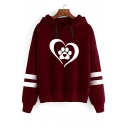 Heart Paw Printed Contrast Striped Long Sleeve Casual Hoodie