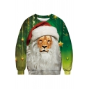 Lovely Christmas Series Lion Printed Round Neck Long Sleeve Sweatshirt