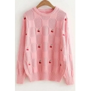 Cherry Embroidered Round Neck Long Sleeve Leisure Sweater