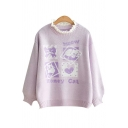 HONEY CAT Letter Animal Jacquard Crochet Patched Round Neck Long Sleeve Sweater