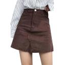 Corduroy Plain Zip Fly Raw Hem Mini A-Line Skirt