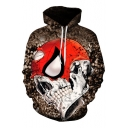 3D Spider Skull Printed Long Sleeve Oversized Hoodie