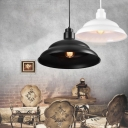 Black/White Metal Shade Simple Style 1 Light Hanging Light Fixture for Restaurant Coffee House