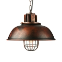 Industrial Full Sized Metal Framed Hanging Lantern in Rust Finish