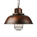 Industrial Full Sized Metal Framed Hanging Lantern in Rust Finish