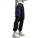 Contrast Cargo Pockets Patch Elastic Waist Leisure Pants