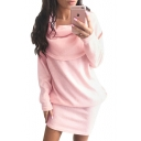 Collared Plain Long Sleeve Mini Sweater Pencil Dress