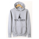 YOU DIED Letter Fire Printed Long Sleeve Casual Hoodie