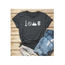 LOVE Letter Graphic Print Round Neck Short Sleeve T-Shirt