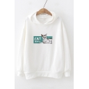 Cat Letter Graphic Print Long Sleeve Leisure Hoodie