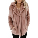 Notched Lapel Collar Plain Long Sleeve Faux Fur Warm Jacket