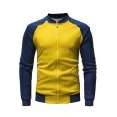 Color Block Stand Collar Raglan Sleeve Zip Up Slim Jacket