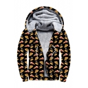 Pizza Santa Claus Print Long Sleeve Zip Up Faux Fur Lined Hoodie