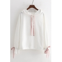Contrast Bow Tie Long Sleeve Casual Loose Hoodie