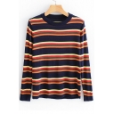 Vintage Striped Printed Round Neck Long Sleeve Sweater