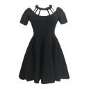 Hollow Out Round Neck Short Sleeve Plain Mini A-Line Dress