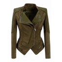 Offset Zip Closure Suede Patchwork Lapel Collar Long Sleeve Slim Cropped Leather Jacket