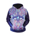 3D Eye Floral Printed Color Block Long Sleeve Hoodie