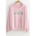 Sequined Cactus Letter Printed Round Neck Long Sleeve Sweatshirt