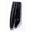 Contrast Striped Side Drawstring Waist Casual Sport Pants
