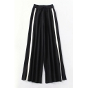 Wide Leg Drawstring Waist Knit Contrast Striped Leisure Pants