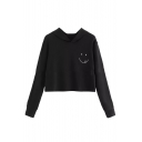 Smile Face Printed Casual Long Sleeve Cropped Hoodie