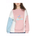 Color Block Rainbow Unicorn Printed Round Neck Long Sleeve Sweatshirt