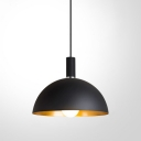 Outer Black Inner Gold Metal Dome Shade Pendant Light for Restaurant in Simple Style