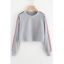 Contrast Striped Long Sleeve Round Neck Leisure Cropped Sweatshirt