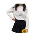 BEAR Letter Animal Printed Round Neck Long Sleeve T-Shirt