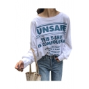 UNSAFE Letter Printed Round Neck Long Sleeve Tee