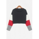Chic Round Neck Color Block Long Sleeve Cropped Sweatshirt