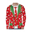 Santa Claus All Over Blazer Printed Round Neck Long Sleeve T-Shirt