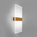 Vertical Acrylic Frame Led Wall Light Color Changeable 4W/6W/10W Brushed Aluminum Rectangular Wall Sconce in Gold Leaf/Rose Gold 3 Sizes for Option