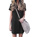 V Neck Short Sleeve Plain Mini T-Shirt Dress