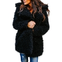 Faux Fur Notched Lapel Collar Plain Open Front Coat