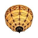 12-Inch Wide Tiffany Round Glass Flush Mount Ceiling Light with Amber Shade, Two Light