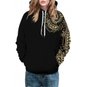 3D Tribal Print Long Sleeve Loose Hoodie for Couple